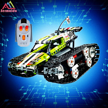 sermoido 20033 Technic Series The RC Track Remote-control Race Car Set Building Blocks Bricks Compatible With Legoings 42065 technic series 42065 radio controlled tracked racer set race car tank legoinglys building block brick toy technic lepin 20033
