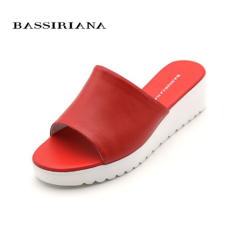 Genuine leather Woman sandals Basic casual Wedges Shoes woman slip-on 35-41 sizes summer red white beige Freeshipping BASSIRIANA
