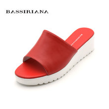 Genuine leather Woman sandals Basic casual Wedges Shoes woman slip-on 35-41 sizes summer red white beige Freeshipping BASSIRIANA(China)