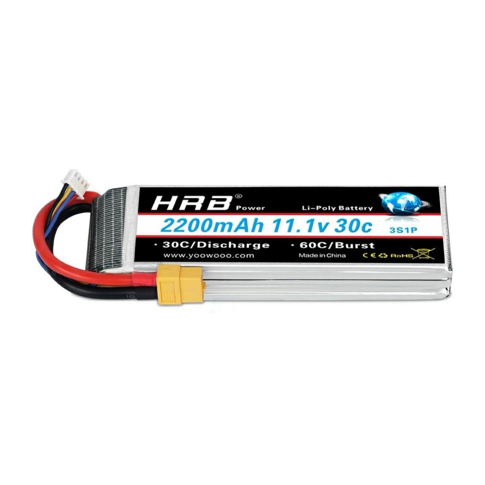2 pièces HRB Lipo batterie 3s 11.1V 2200mAh 30C Lipo pour RC Trex 450 500 hélicoptère quadrirotor RC voiture AKKU Bateria