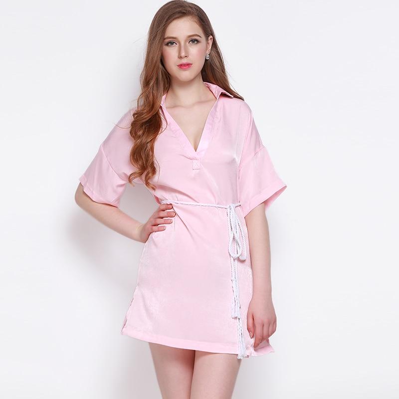 71c685765c06f US $25.47 |MY MAYAASOS Sweet Pink V neck Women Dress Short Sleeve Lace up  Sexy Vestidos Lapel Side Slit Turn down Colla Female A line Dress-in  Dresses ...