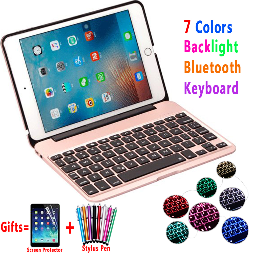 7 Color Backlit Aluminum Alloy Wireless Bluetooth Keyboard Smart Case Cover for Apple iPad mini 4 7.9inch A1538 A1550 Coque Capa for ipad mini 4 backlit wireless 4 0 bluetooth keyboard 7 colors backlight ultra slim aluminum abs material a1538 a1550
