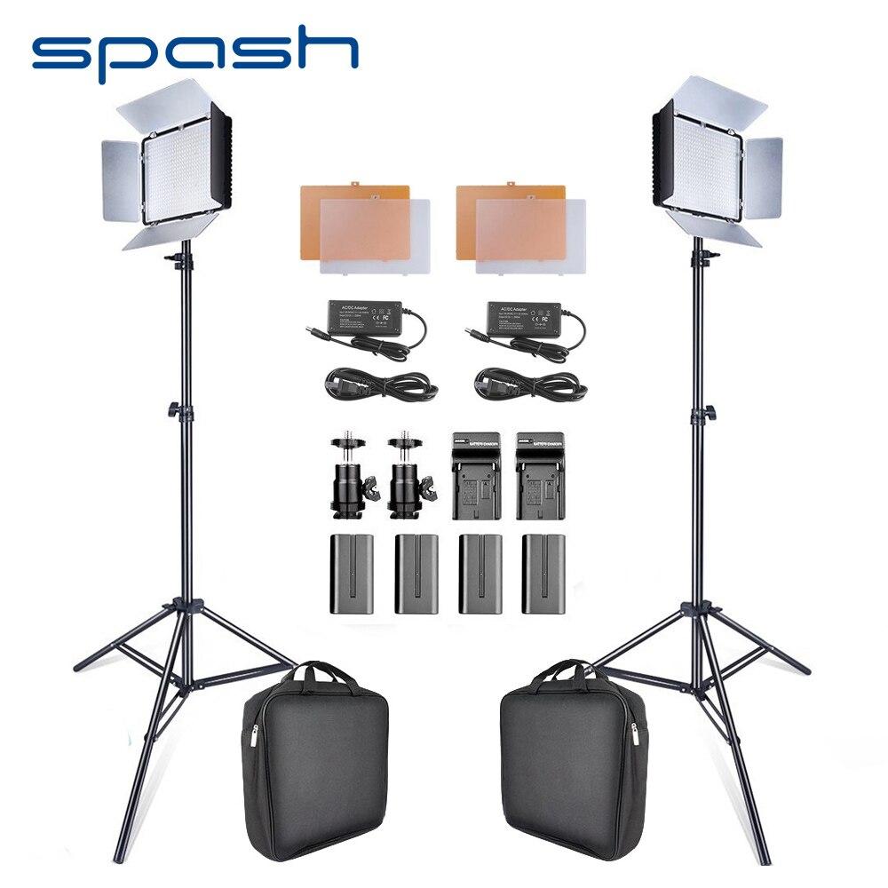 Spash 2 em 1 Portátil Painel de LED Luz de Vídeo Estúdio de Fotografia LEVOU 600 Contas de iluminação Fotográfica Kit com Suporte de Alta CRI Lâmpada