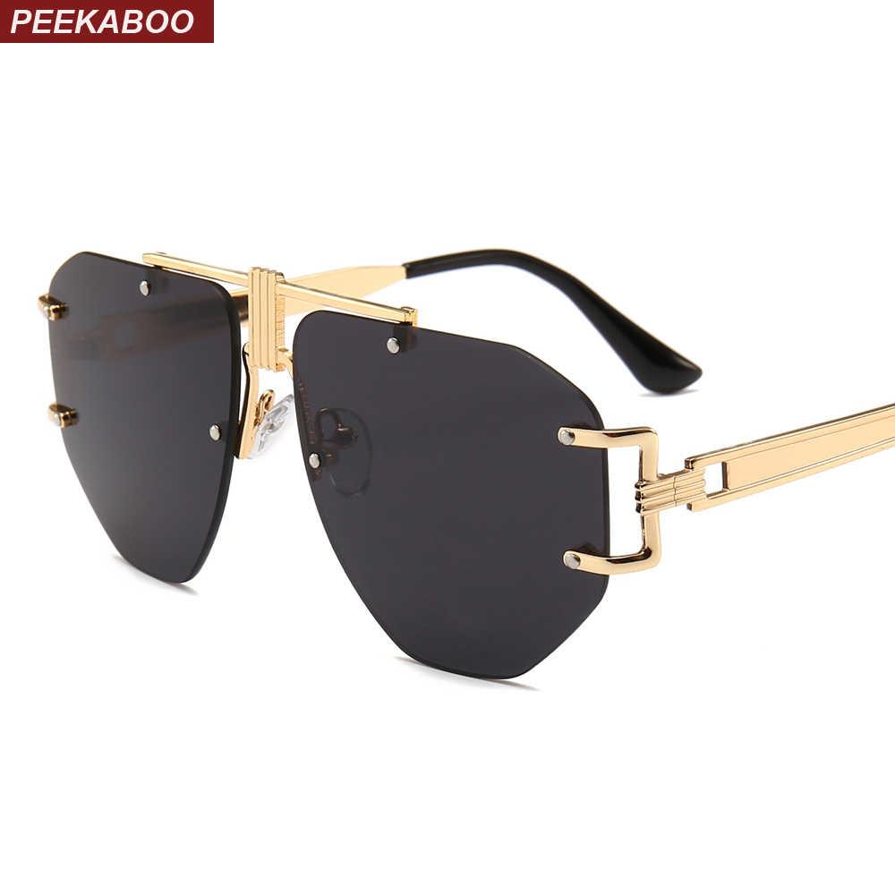 ee105294faac Peekaboo oversized frameless sunglasses women metal frame 2019 brown gold  black punk sun glasses for men