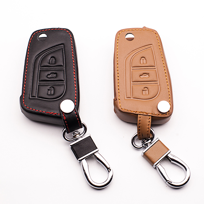 Leather Car Key Cover for Toyota Camry Prado Highlander Corolla REIZ Crown RAV4 FOB Cover Protective Bracket case starline a91