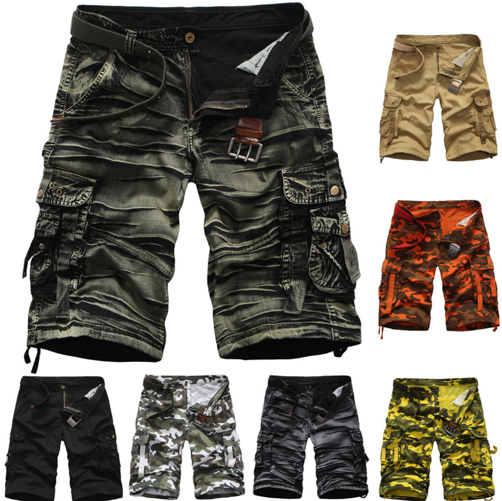 Fashion Mens Camo Trousers Cargo Short Mens Cargo Shorts Multi Pockets Short for Men ...