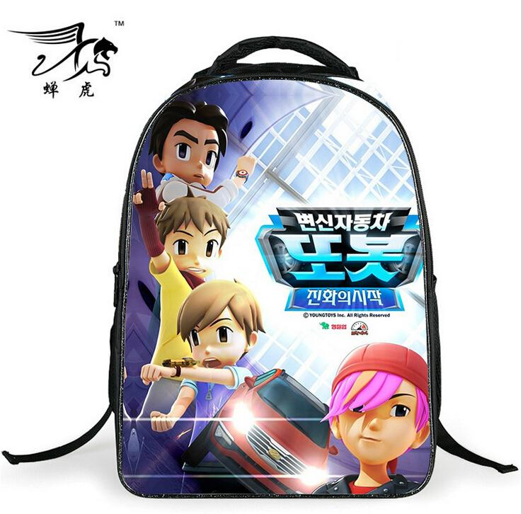 New Fashion 2015 Cartoon Backpack with Zipper Fashion Style Boy Cool TOBOT Bag Child Schoolbag for Kid Printing Backpack