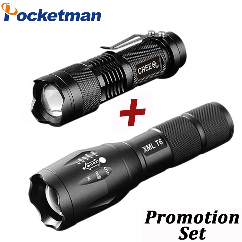Promotion Set! Hot Sale LED Flashlight CREE T6 Tactical flashlight + Q5 Mini Torch Lanterna Zoomable Waterproof Flashlight Bike