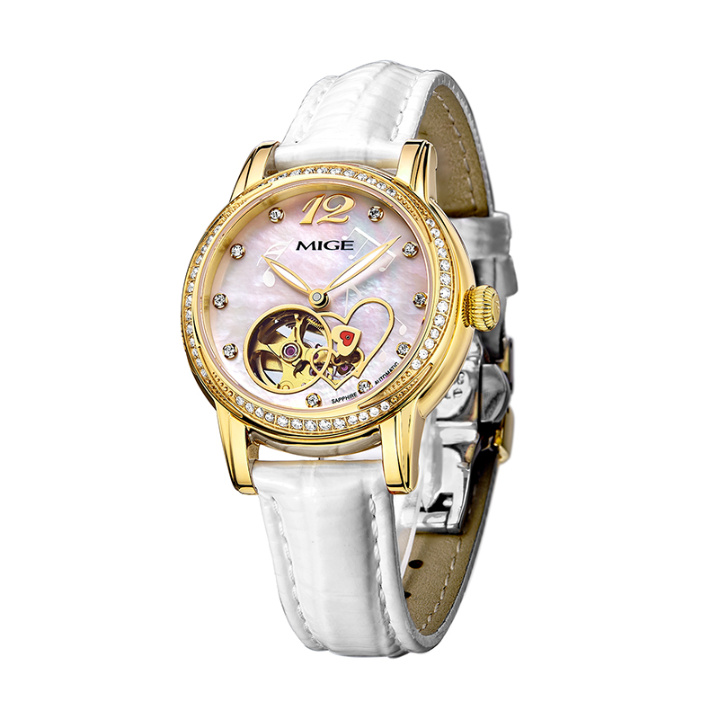 Hot Sale Top Brand White Red Leather Fashion Ladies Watch Gold Luxury Diamond Clock Waterproof Skeleton Automatic Women Watches ultra luxury 2 3 5 modes german motor watch winder white color wooden black pu leater inside automatic watch winder