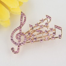 Брошь ювелирная Скрипичный ключ женская