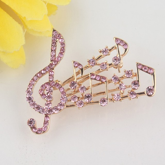 Free shipping Trendy Women's Gold Color Musical Note Charm Pink Austrian Crystal