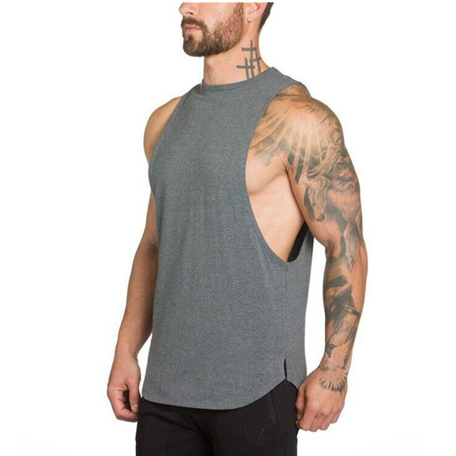 05f608910e160 2017 Muscleguys Stringer Tank Top Men Bodybuilding Clothing Fitness Mens  Sleeveless gyms Vests Cotton Singlets Muscle Tops