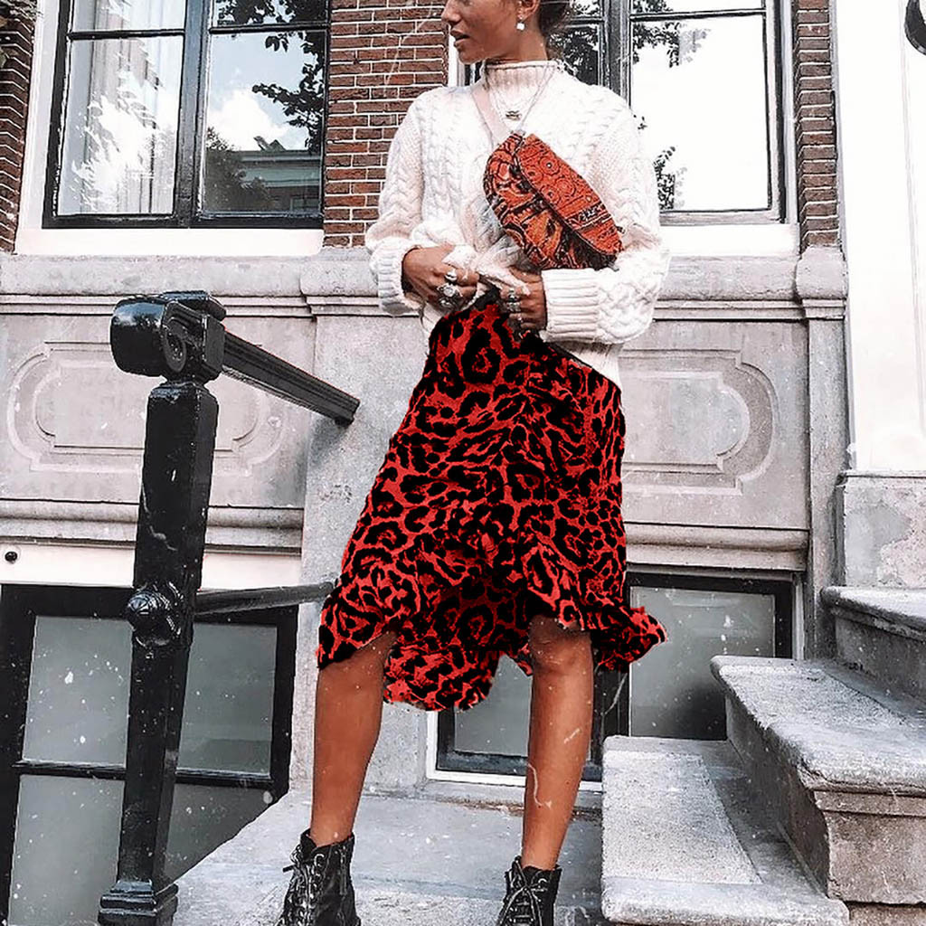 Leopard Women's Skirt Skirts Womens Jupe Femme Faldas Mujer Moda 2019 Shein Print Vintage Casual High Waist Pleated Skirt Z4