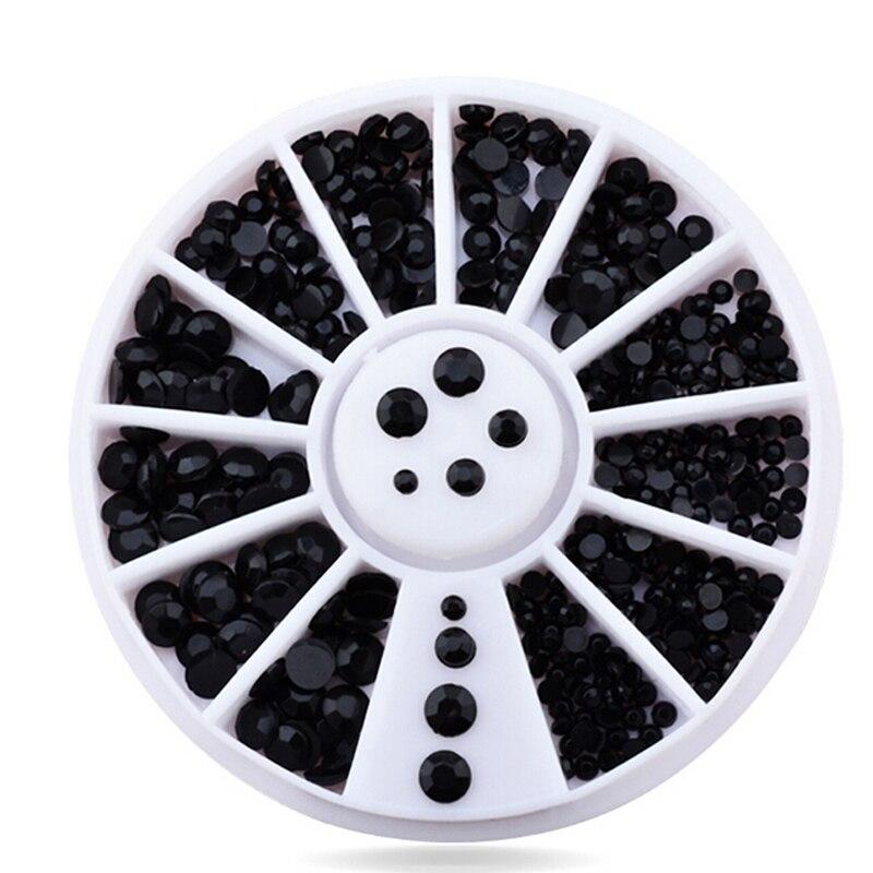 2016 Mix 4 Sizes Black 3D Nail Art Rhinestone Pearls Acrylic Flatback Nail Tips Sticker Decoration Wheel DIY Beauty Makeup Tools