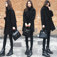 Black Wool Coat Women Winter Blends Women Winter Coat Women Wool Short Button Plaid Long Wool Blends Coat Women Winter Clothing