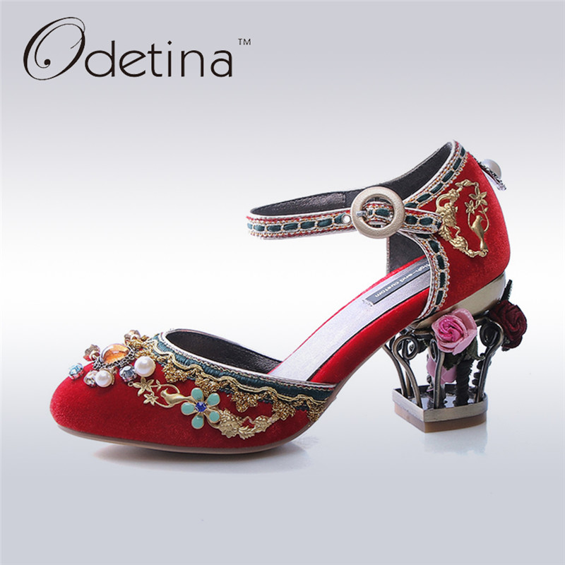 Odetina 2017 New Fashion Luxury High Heels Women Buckle Ankle Strap Pumps Crystal Party Wedding Shoes Flowers Plus Size 34-43 odetina 2017 fashion cross strap high heels buckle ankle closed toe ankle strap pumps sexy party shoes thin heels big size 32 48