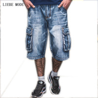 Men Fashion Baggy Cargo Jean Shorts Mens Mult Pockets Boardshorts Shorts Denim Overall Breeches Loose Shorts