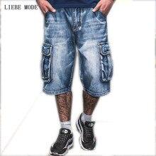 Men Fashion Baggy Cargo Jean Shorts Mens Mult Pockets Boardshorts Shorts Denim Overall Breeches Loose Shorts Jeans For Men