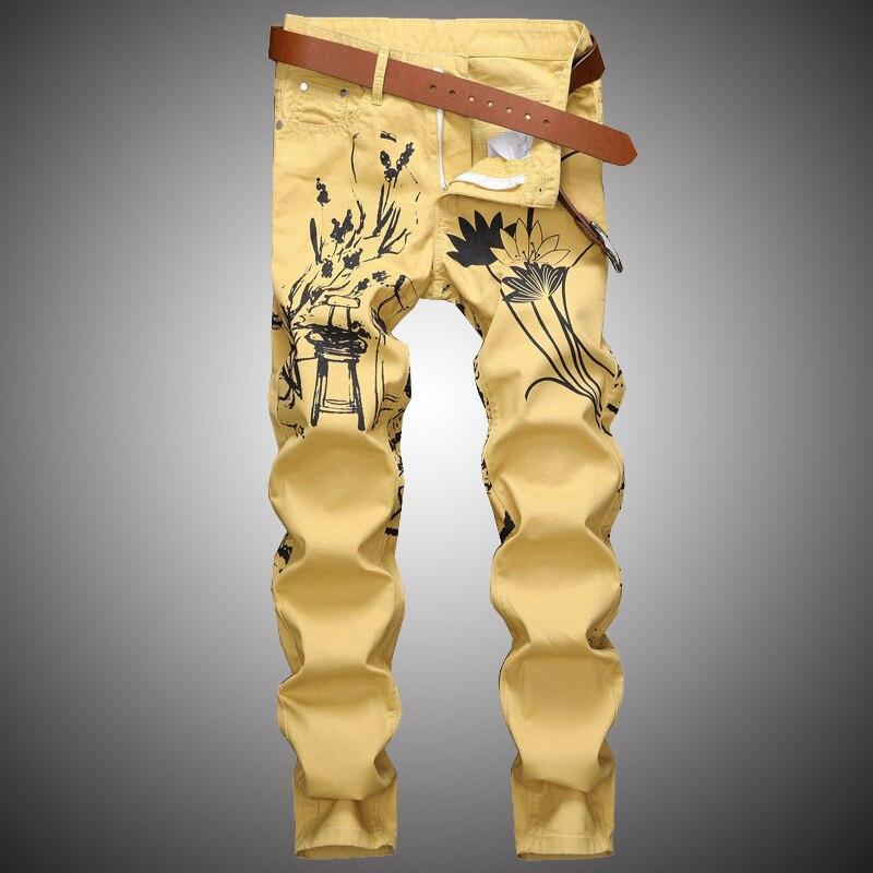 Fashion Print Casual Jeans Pants Men Slim Fit Denim Pant Jean Joggers 2019 Men Hip Hop Streetwear Trousers Clothing Khaki WA112