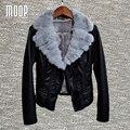 Черный PU кожаные куртки зима на флисовой подкладке пальто серый кролик меховой воротник кожа мотоцикл куртка весте ан cuir femme LT1057