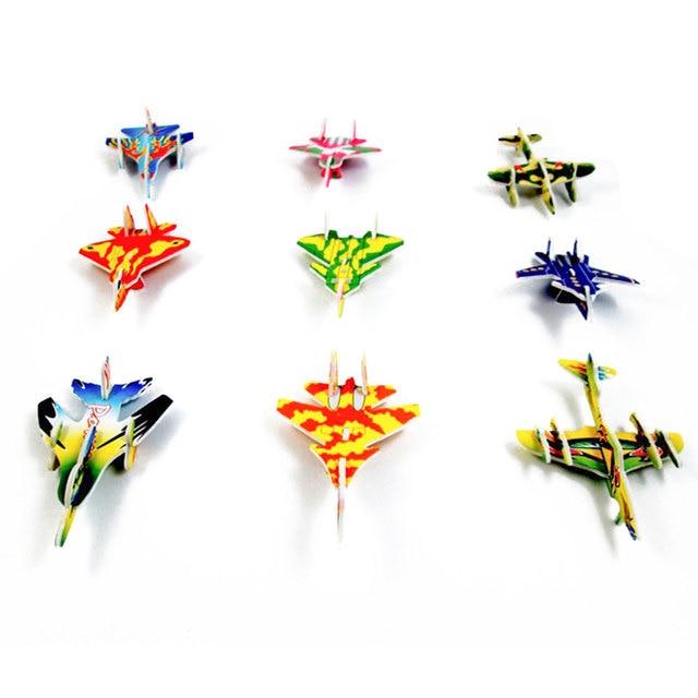 10pcs Montessori 3D Aircraft Models Cardboard Jigsaw Airplane Model Building Kids Toys for Children Funny DIY Toys Random Color 6