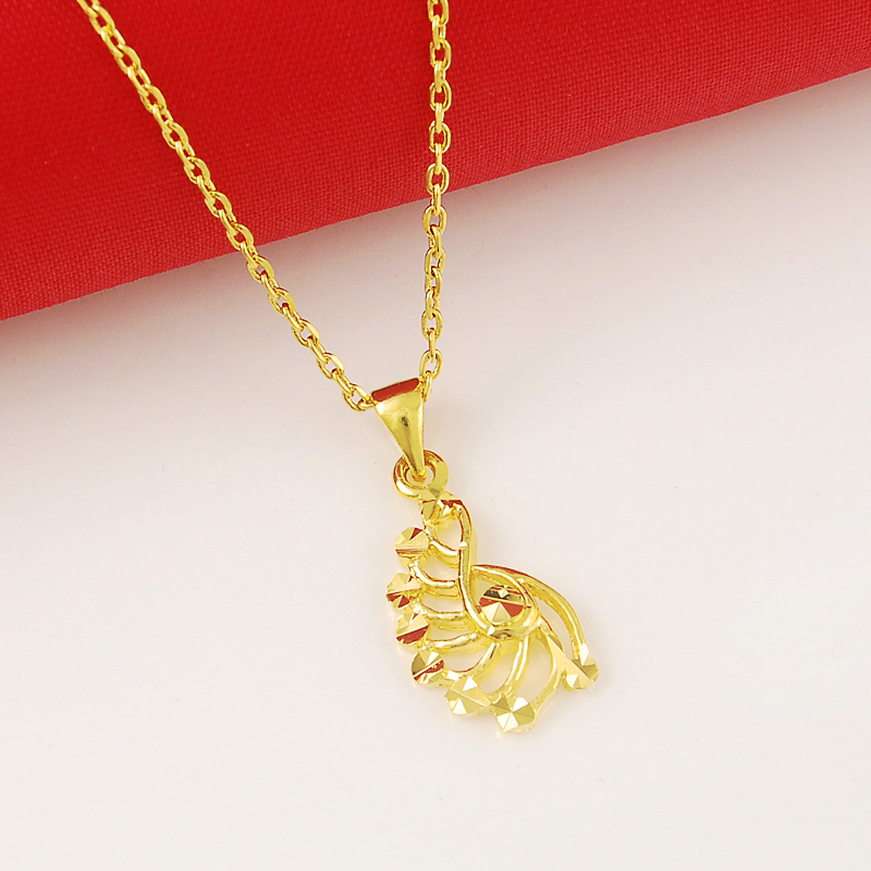 24K Gold Cover Pendant Necklace Link Chain Necklace Romantic ...