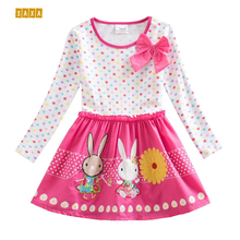 Girl long sleeve dress NEAT 100% Cotton kid clothes cute bow Dots Bunny floral print Children's Clothing Princess Dress