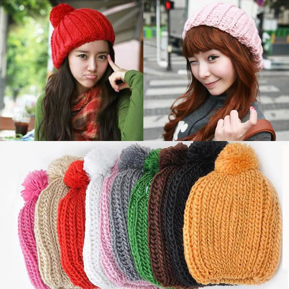 Women Ladies Girls Candy Color Knitted Crochet Winter Warm Beanie Hat Slouch Cap HATBD0028