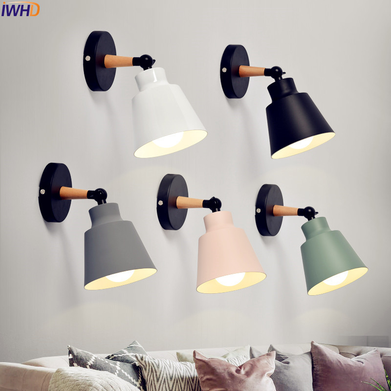 IWHD Nordic LED Wall Lights FIxtures Bedroom Living Room Wooden Modern Wall Lamp Light Beside Wandlamp Lampara Pared black simple modern led wall lamp balcony bedroom aisle stair light fixtures wall sconces wandlamp appliques lampara pared
