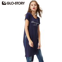 GLO STORY 2016 Fashional Asymmetrical Summer Tops Chic Sport Letter Tee Shirts Long Women T Sthirts