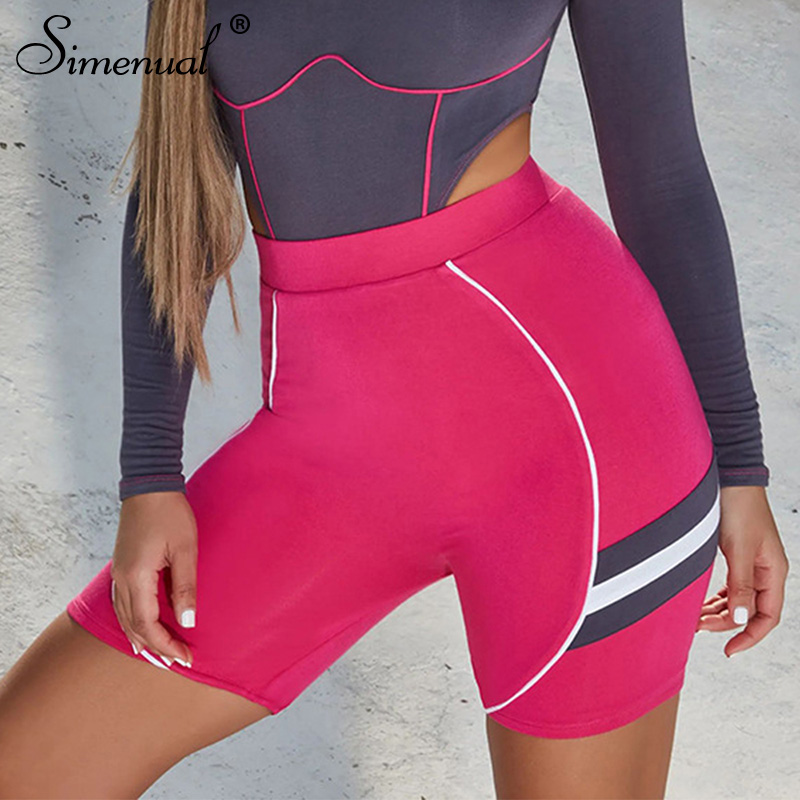Simenual Sporty Fitness Active Wear Biker   Shorts   Women Striped Pink   Shorts   High Waist Sexy Push Up Biker   Shorts   Athleisure Hot