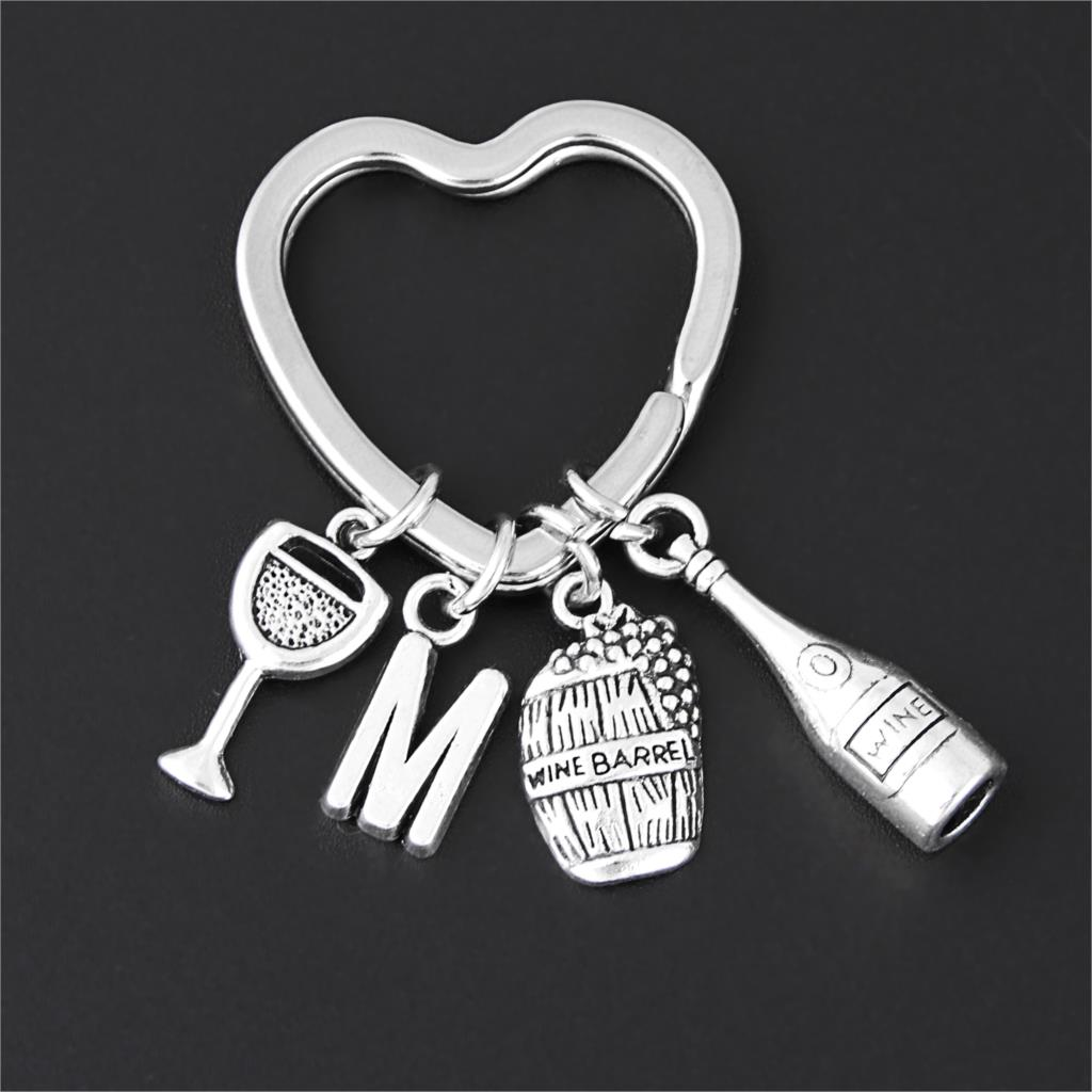 1Pc New Arrival Wine Barrel Cask Charms Keychain Grape Glass Goblet Keyholder For Party Gift Setting Jewelry Accessories E2698