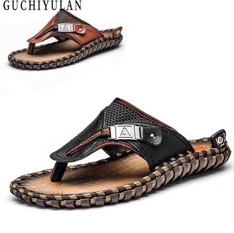 summer men flip flop sandals Natural Cow Leather Men beach Flip Flops Men Casual Breathable Slippers Sandalias Hombre slippers