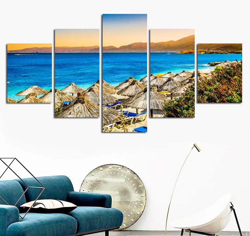 5 panel moderno mar ola pintura cuadros arte de la pared Ocean Sunset Pintura sobre tela impresiones unframed