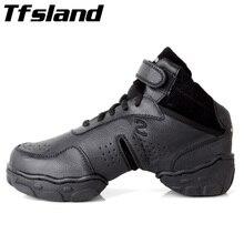 Tfsland/Черные Оригинальные женские и мужские современные танцевальные туфли для сальсы и джаза из натуральной кожи, дышащие мягкие танцевальные кроссовки размера плюс 46 28 см