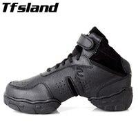Tfsland שחור המקורי גברים הנשים מודרני סלסה נעלי ריקוד ג 'אז ריקוד רך לנשימה עור אמיתי נעלי ספורט בתוספת גודל 46 28 ס