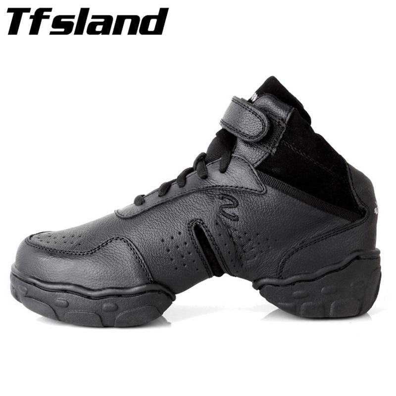 все цены на Tfsland Black Original Women Men Modern Salsa Jazz Dance Shoes Genuine Leather Breathable Soft Dance Sneakers Plus Size 46 28cm