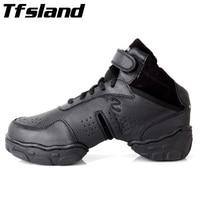 Tfsland Black Original Women Men Modern Salsa Jazz Dance Shoes Genuine Leather Breathable Soft Dance Sneakers Plus Size 46 28cm