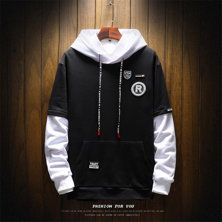 2018 New Mens Pocket Stitching Long-sleeved Hoodies Fake Two-piece Hooded Men Sweatshirt Fashion Mens Casual Brand Clothing