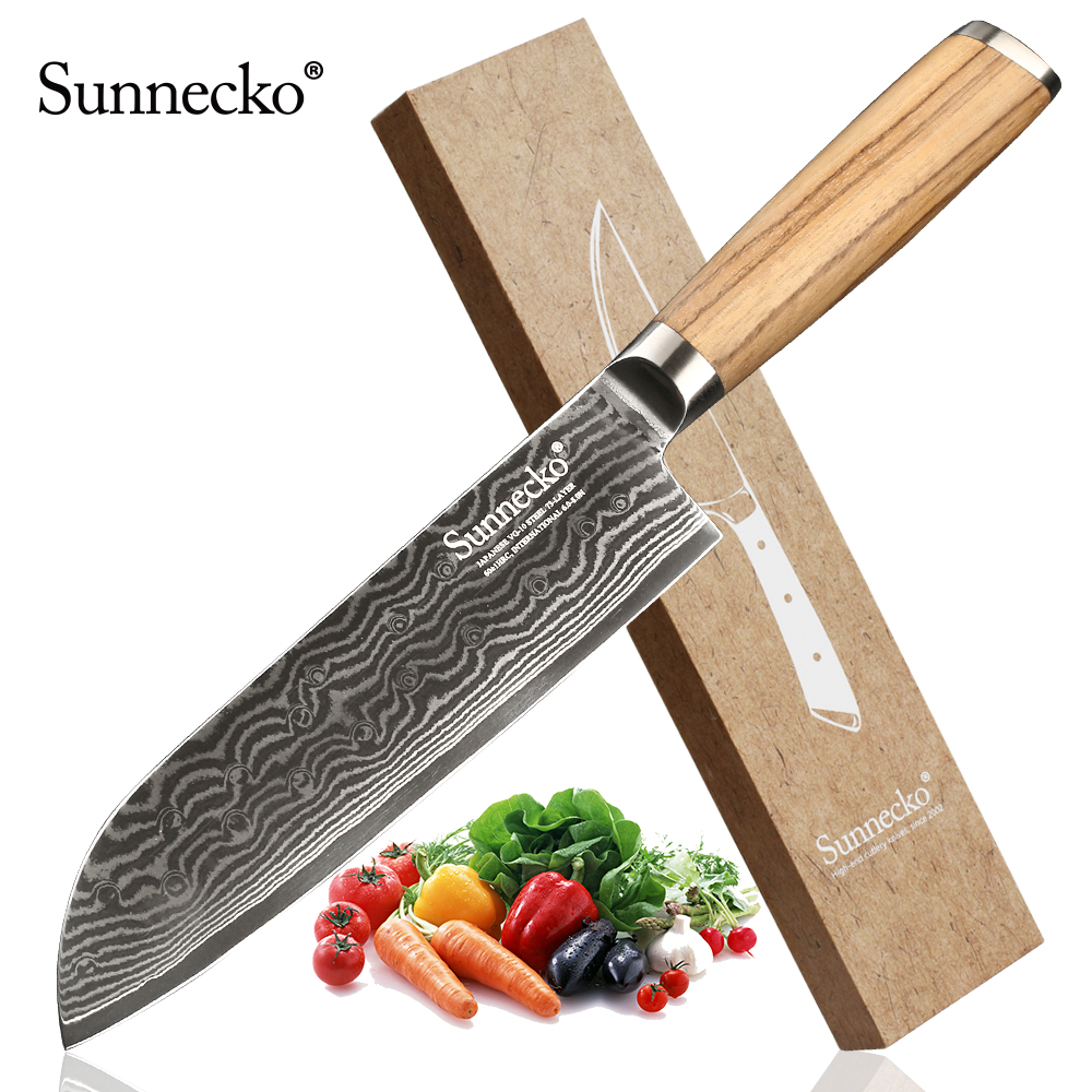 SUNNECKO 7 inch Damasucs Santoku Knife Japanese VG10 Steel Blade Original Wood Handle Chef s Slicing