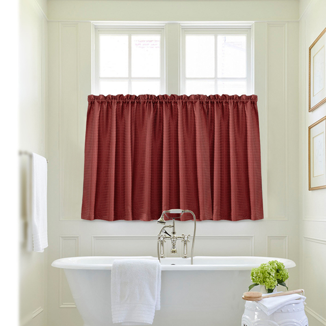 Water Proof Kitchen Curtain Set, Waffle Weave Textured Window Curtains For  Bathroom,