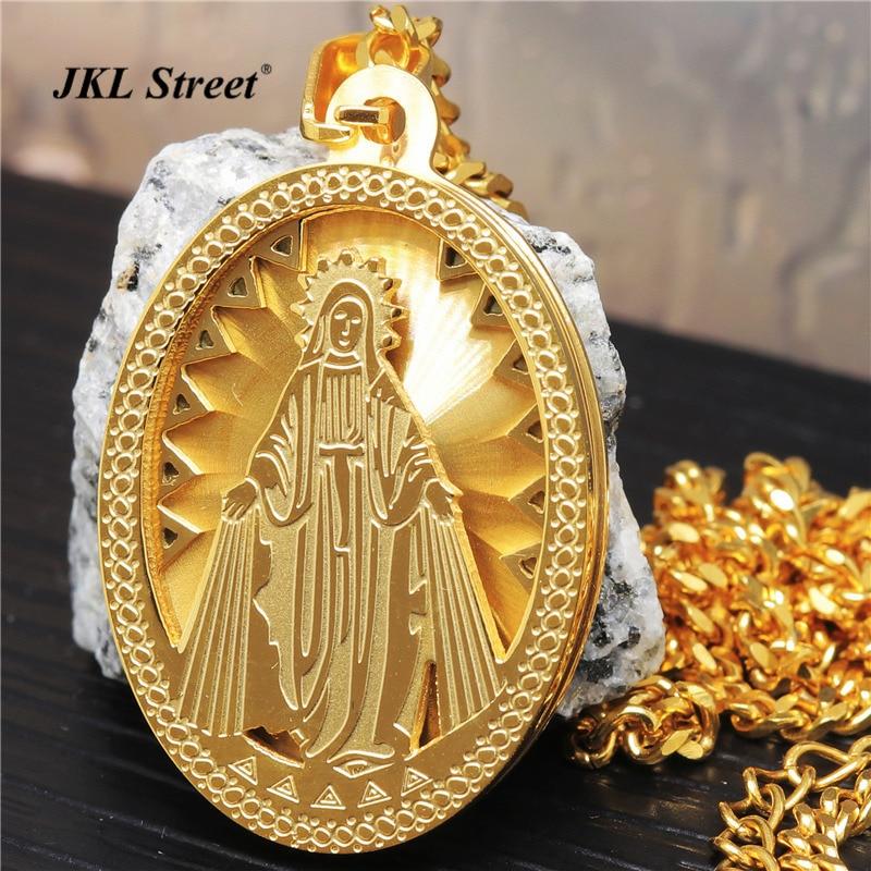 b75733cbc629 Acero inoxidable de oro encanto Virgen María milagrosa medalla oval colgante  24