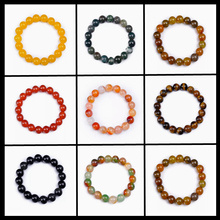 8-10MM Natural Crystal Agate Charm Bracelet Fine Jewelry Men Women Ladies Classic Amethyst Beads Yoga Stretch Bracelets Bangles