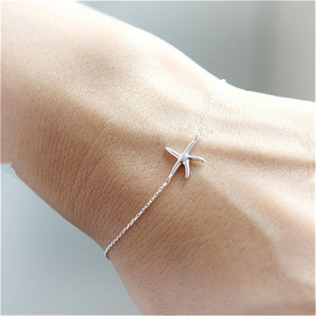 Daisies One Piece Silver Gold Color Lovely Starfish Bracelet Ocean Charm Bracelets Bangles Fashion Jewelry