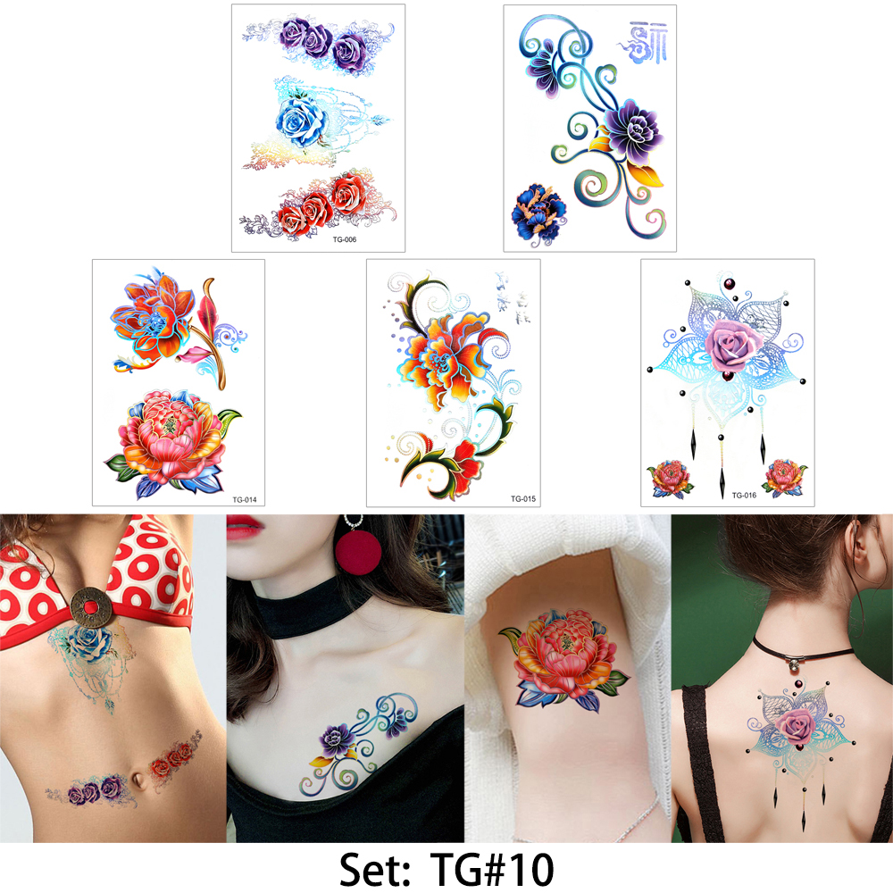 glaryyears 5 Pieces/set Laser Flower Body Tattoo Temporary Stikcer Waterproof Decal TG for Women Girl Jewelry Tattoo DIY Wedding