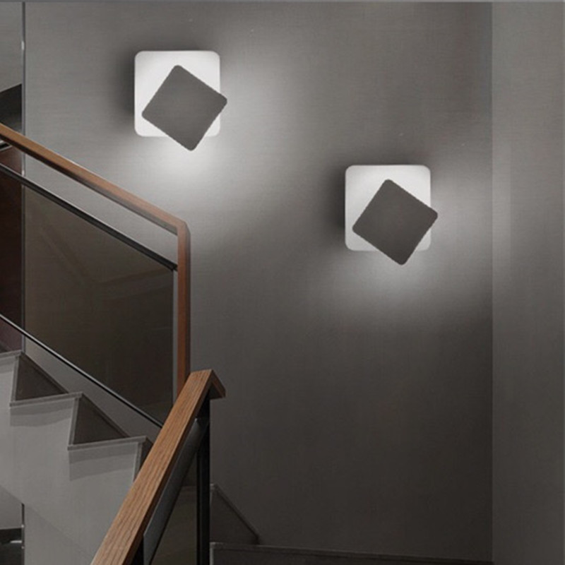 LED square rotating simple indoor lighting home living room kitchen study bedroom bedside office staircase balcony wall lamp in Wall Lamps from Lights Lighting