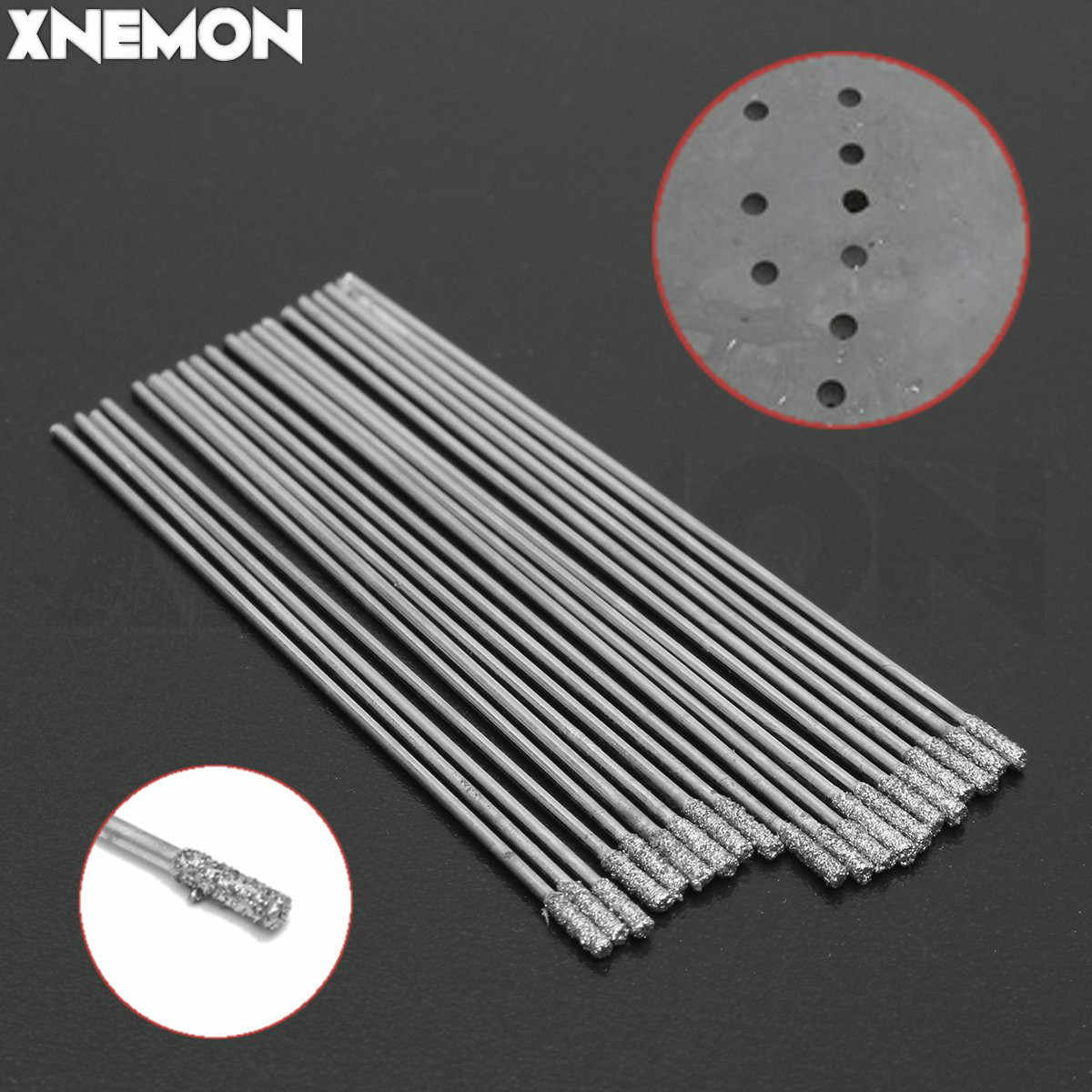 XNEMON 20pcs 1.5MM Diamond Coated Tipped SOLID BITS Drill Drills Bit Hole Saw Hole on Glass, Marble, Tile or Granite Carborundum