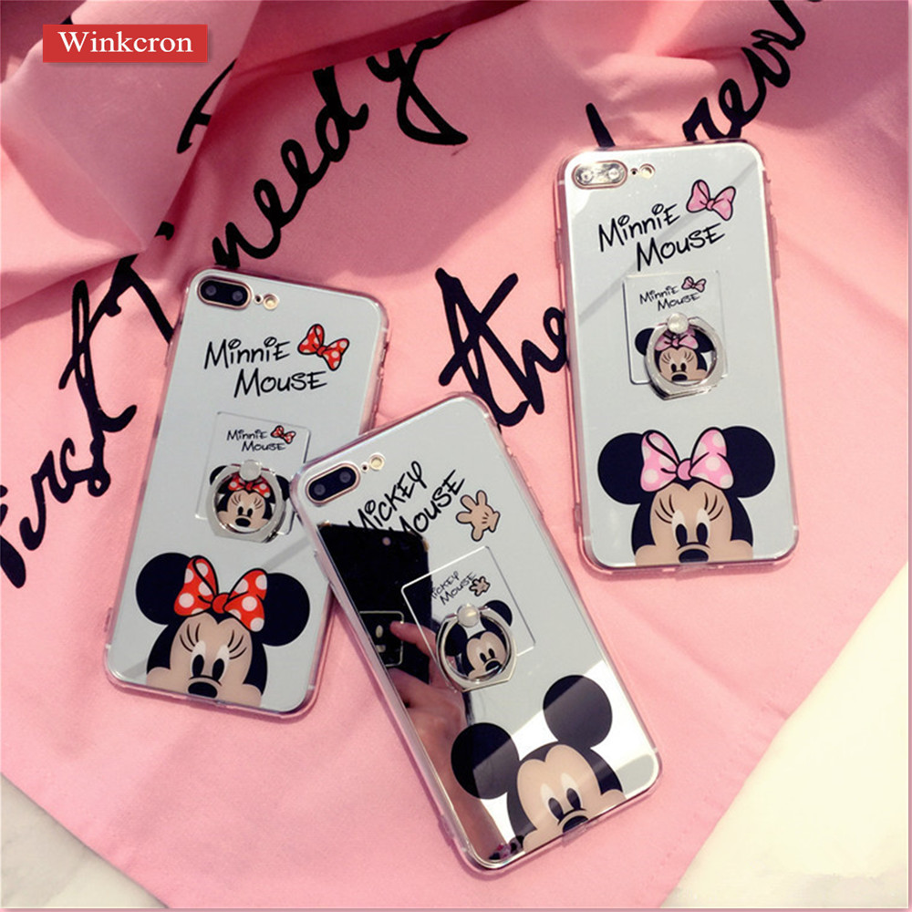 Online Shop Mickey Minnie Mouse Mirror Cases for iPhone 7 7Plus 8 ...