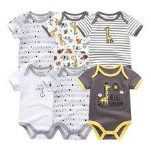 Детская одежда, 6 шт./партия, комбинезоны унисекс для новорожденных мальчиков и девочек, roupas de bebe, хлопковые детские комбинезоны с короткими рукавами, одежда для малышей