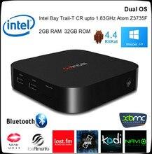 Win8 mini pc intel atom z3735f wintel windows 10 mini pc android 4.4 tv Box OS Dual 2G/32 GB Tableta Del Teléfono Portátil Para TV